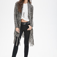 FOREVER 21 Tasseled Open-Front Cardigan Black/Taupe