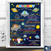 Galaxy Birthday Poster, Baby monthly milestone, Printable outer space board, Astronaut 1st bday baby board