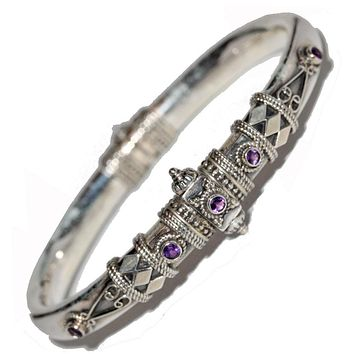 Artisan Unique Handmade Amethyst Tribal Style Hinged Bangle with