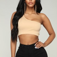 Jordan One Shoulder Crop Top - Nude