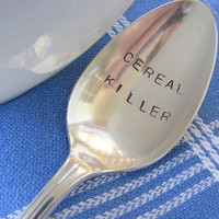 Cereal Killer Spoon vintage Hand Stamped Spoon by BabyPuppyDesigns