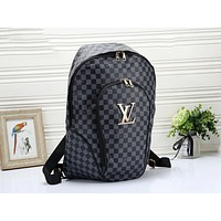 LV Louis Vuitton Fashion Woman Men Leather Travel Bookbag Shoulder Bag Backpack Black Tartan