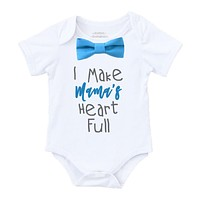 Mothers Day Outfit Baby Boy New Mom Gift Blue Bow Tie Baby Shower Gift