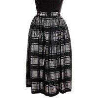 Vintage Skirt Black & Silver Metallic  Plaid Full 1940s Medium