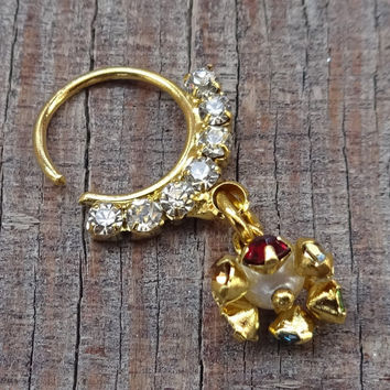 Nose Ring Septum Ring Piercing Septum Faux Septum Ring Gold Nose Ring NoseJewelry Indian Septum Ring Tribal Septum Nose Stud Nose Cuff CZPin