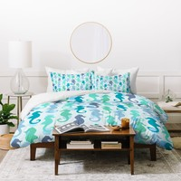 Lisa Argyropoulos Seahorses And Bubbles Duvet Cover
