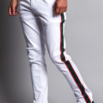 Men's G Stripe Zippered Track Style Pants
