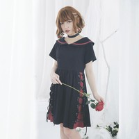 Cute Short Sleeved Summer Dress Black Peter Pan Collar Harajuku Dress with Lace up Design by Dolly Delly