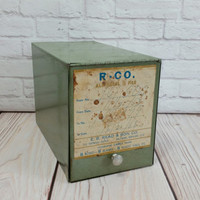 Vintage Hinged Pharmacy Prescription Box Olive Green Metal Industrial