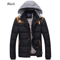 Button and Zip Two Layers Men Winter Puffer Jacket with Hood