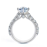 A Vintage Style 14K White Gold 2CT Round Cut Moissanite Engagement Ring