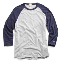 Champion Classic Baseball Tee in Navy/White