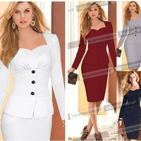 2014 Women Autumn Elegant Vintage Long Sleeve Cotton Stretch Peplum Office Wear To Work Party Pencil Sheath Dress = 1930364932
