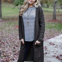 Knit Duster Cardigan, Olive