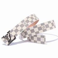 Inseva LV Louis Vuitton New fashion letter buckle plaid tartan leather couple belt