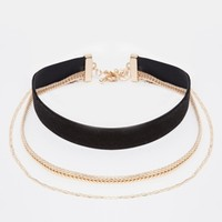 River Island Velvet And Chain Multirow Choker Necklace
