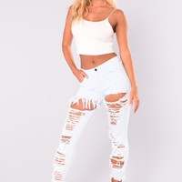 Made Ya Look Distressed Jeans - Light Denim