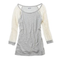 Aerie Lace Sleeve Cozy T-Shirt   Aerie for American Eagle