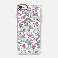 Dinosaurs and Roses on white iPhone 7 Case by Micklyn Le Feuvre | Casetify