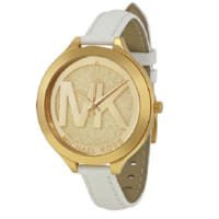 Michael Kors  Slim Runway white Leather Watch MK2389
