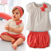 Infant Baby Girl Polka Dots T-shirt Tops+Short Bow Costume 2Pcs Set Outfit = 1930504644