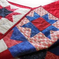 """Lap Quilt Handmade 54"""" x 68"""", Patriotic colors, Red White and Blue, Stars"""