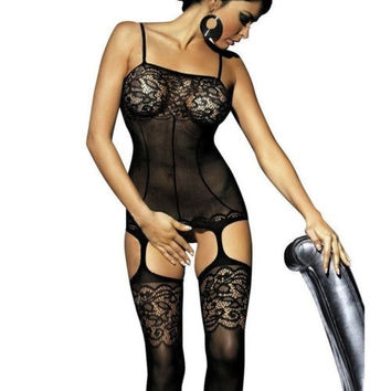 Sexy Women's Lingerie Nightwear Underwear Crotchless Bodystocking Suspender Bodysuit = 1932236996