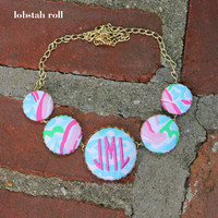 Monogrammed Lilly Pulitzer Fabric Covered Button Necklace