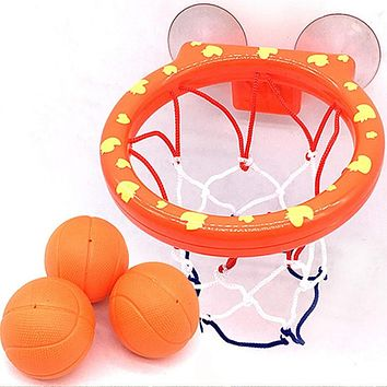 Basketball Hoop Bath Toy on Suckers Set for Child Kid Outdoor Game Development of Boy Interesting Indoor Sport Tool Kit for Baby (hoop and 3 balls)
