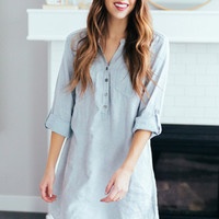Blue Stone Washed Pocket Shirt Dress