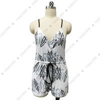 Fancyinn™2015 Summer Beach Jumpsuit Sexy Deep V-neck Tank Sleeve Women Playsuit with Pockets Fashion Rompers Overalls Floral Leaf Print Hot Sell = 1667797188