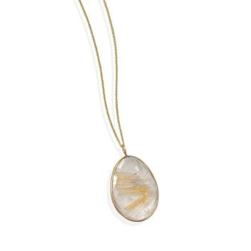 14k Gold Plated Sterling Silver Rutilated Quartz Pendant Necklace