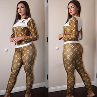 Louis Vuitton LV New Popular Women Casual Round Collar Top Pants Set Two-Piece