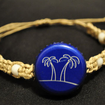 Blue and White Seagrams Recycled Bottle Cap Hemp Macrame Fully Adjustable Bracelet - palm trees, unique jewelry