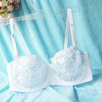 New Ladies Embroidery Lace Women Bra Mesh Lined Brassiere Bralette Push Up Underwear Lingerie Black Red White Size A B C D Cup