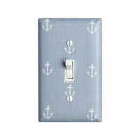 Anchor Light Switch Plate Cover / Nautical Nursery Decor / Boys Girls Room / Out to Sea Pearl Gray Michael Miller