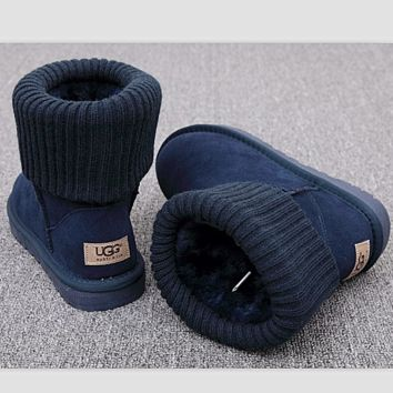 UGG Fashion Plush leather boots boots in tube Boots Dark blue