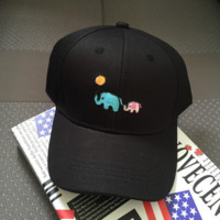 Black Embroidered Elephant Baseball embroidered cap Hat