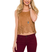 Alaska Suede Crop Top - Tan