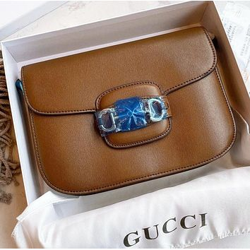 GUCCI Fashion New solid color leather shopping leisure shoulder bag women crossbody bag Coffee