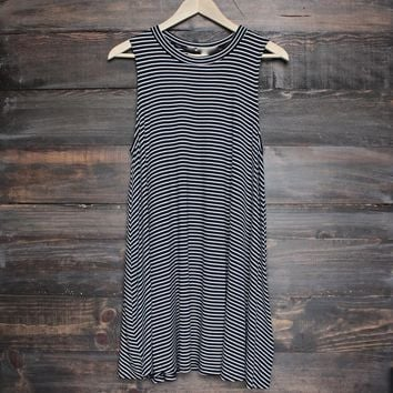 Final Sale - BSIC - Boho Striped Women's Tank Mini Dress in Black