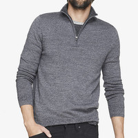 MERINO WOOL ZIP-UP MOCK NECK SWEATER from EXPRESS