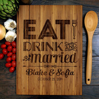 Eat Drink And Be Married Cutting Board (Pictured in Amber), approx. 12 x 16 inches, Personalized cutting board, Wedding or Anniversary gift