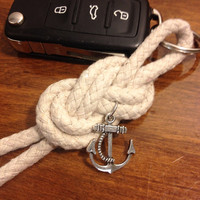 Sailors Knot Nautical Cotton Keychain with Silver-Toned Anchor Charm