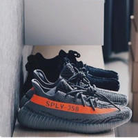 """Adidas"" Women Yeezy Boost Sneakers Running Sports Shoes SPYL-350 Black orange line I"