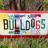 BULLDOGS Custom Recycled License Plate Art Sign Plaque