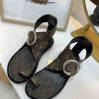 LV Louis Vuitton Summer Beach Casual Sandals Shoes Coffee Patent Leather Women Perfect Flat