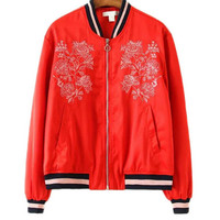 Bomber Jacket with Embroidery Detail