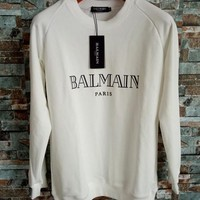 Balmain Women White Top Sweater Pullover Sweatshirt One-nice™