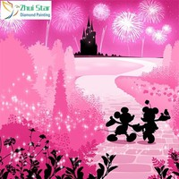 5D Diamond Painting Mickey & Minnie Silhouette Castle in Pink Kit